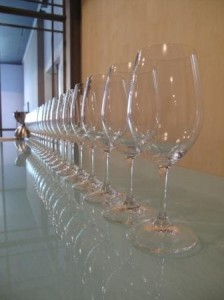 Glasses ready for Lynch Bages tasting