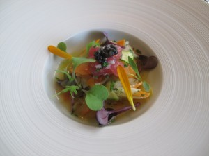 vegetable escabeche, yellowfin and caviar