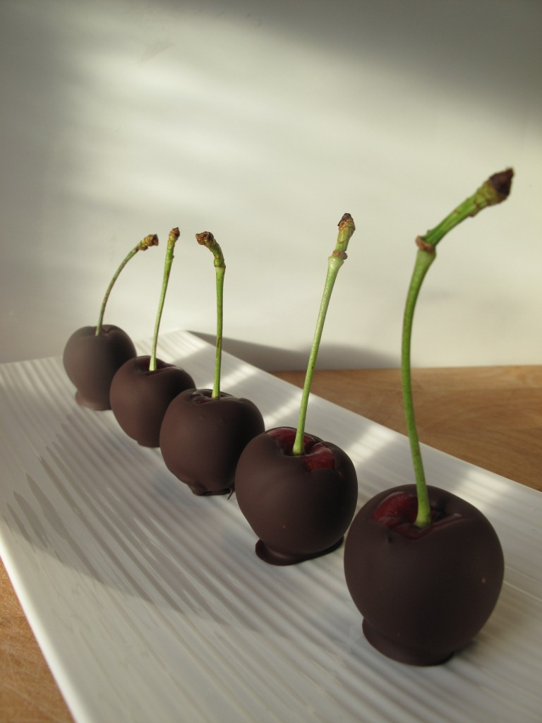 Chocolate dipped cherries filled with slow gin water ganache