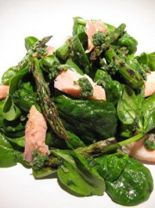 Griddled asparagus with nettle and wild garlic pesto
