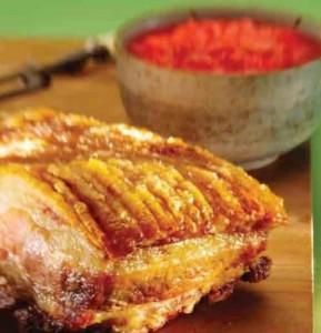 Roast pork with rhubarb compote