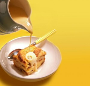 Simnel bread and butter pudding