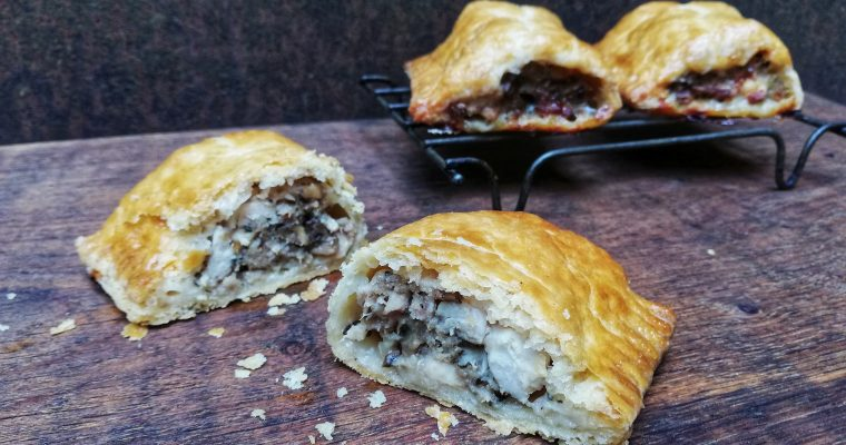 Partridge and mushroom sausage rolls