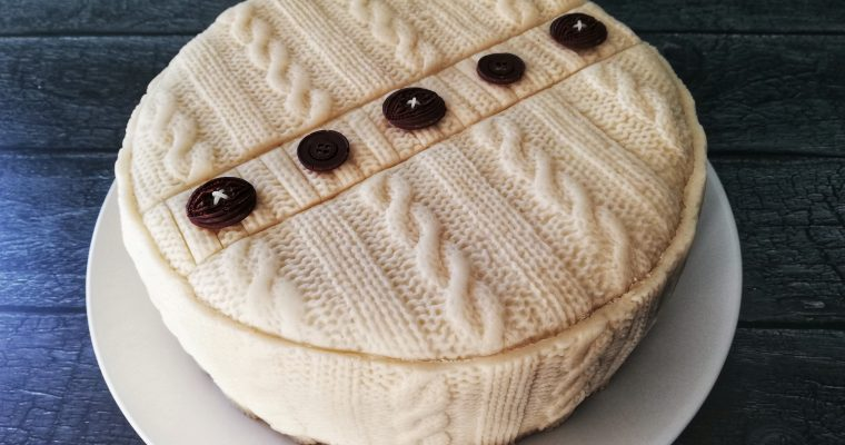 Cable-knit marzipan Christmas cake