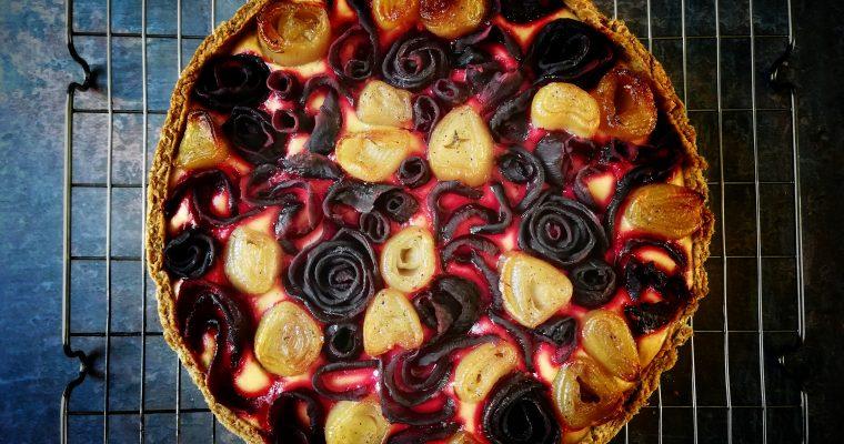 Beetroot, shallot + ricotta tart