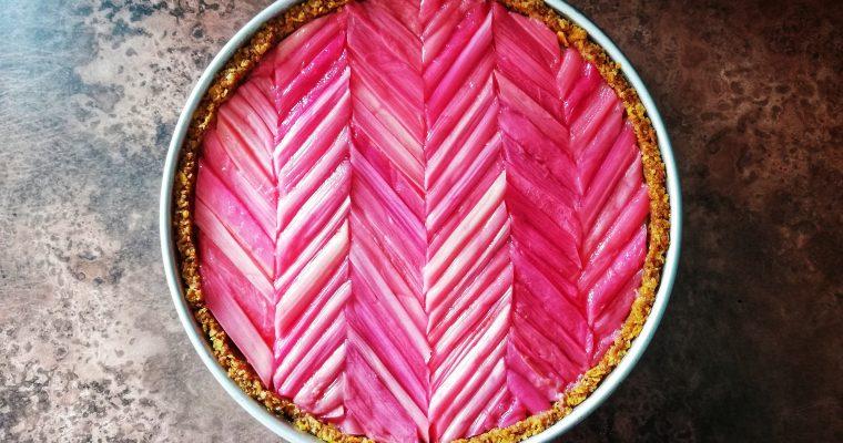 Rhubarb, lime + ginger tart