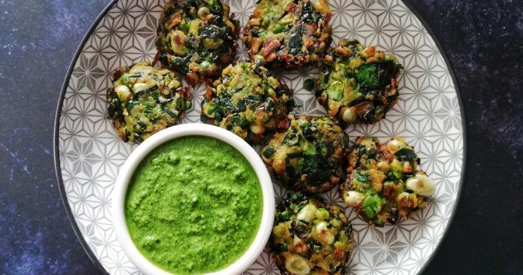 Green vegetable pakoras + coriander chutney