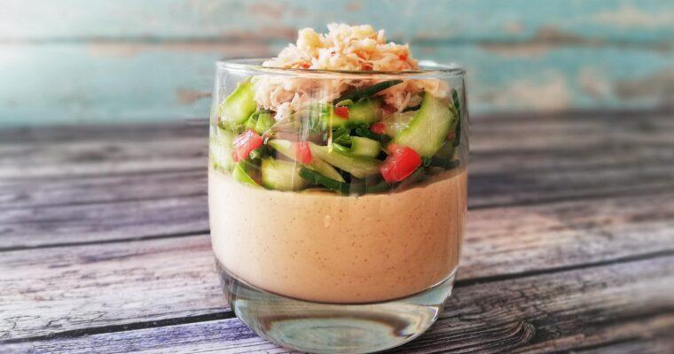 Brown crab custard with asparagus + samphire salad